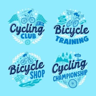 Ręcznie Rysowana Kolekcja Logo Roweru Darmowych Wektorów