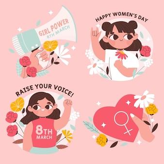 Ręcznie rysowana kolekcja odznak z okazji międzynarodowego dnia kobiet