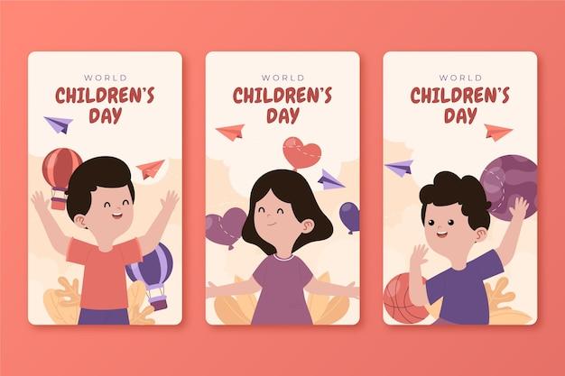 Ręcznie rysowana kolekcja opowiadań na instagram dzień dziecka z płaskim światem