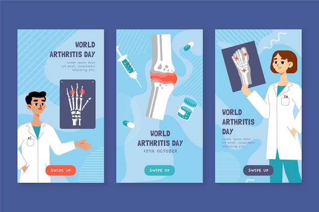 Ręcznie rysowana kolekcja opowiadań na instagram z płaskim światowym dniem zapalenia stawów
