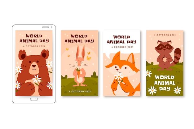 Ręcznie rysowana kolekcja opowiadań na instagramie z płaskim światowym dniem zwierząt