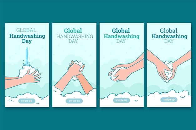 Ręcznie rysowana kolekcja opowiadań na temat globalnego dnia mycia rąk na instagramie