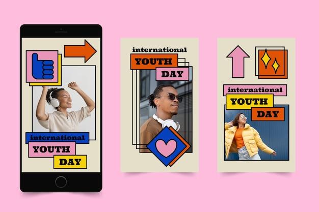 Ręcznie rysowana kolekcja opowiadań o międzynarodowym dniu młodzieży ze zdjęciem