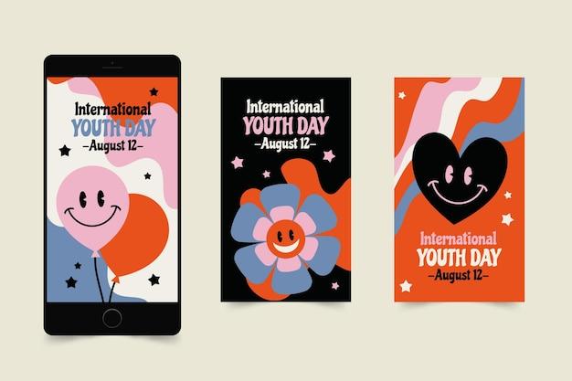 Ręcznie rysowana kolekcja opowiadań o międzynarodowym dniu młodzieży
