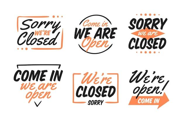 Ręcznie rysowana kolekcja otwartych i zamkniętych znaków