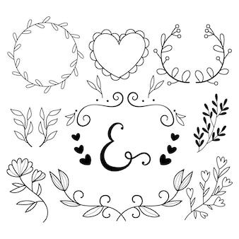 Ręcznie rysowana kolekcja ozdób ślubnych