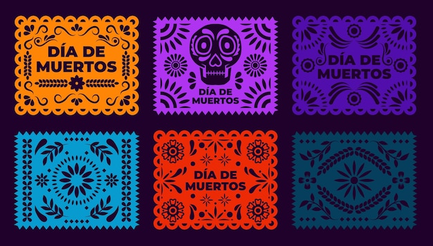 Ręcznie rysowana kolekcja papierów dia de muertos picado
