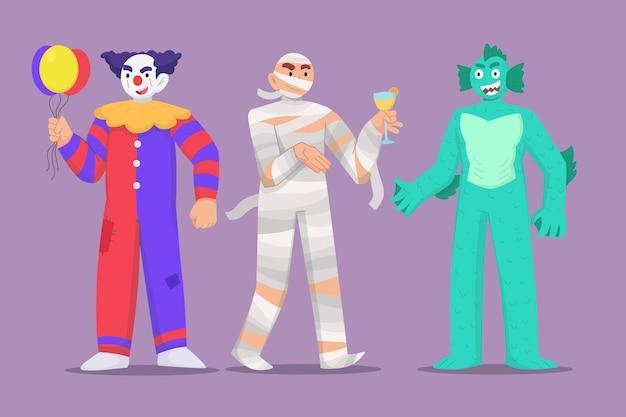Ręcznie rysowana kolekcja płaskich kostiumów halloween