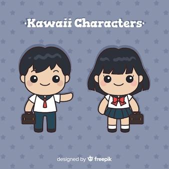 Ręcznie rysowana kolekcja postaci szkolnych kawaii
