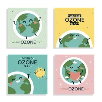 Ręcznie rysowana kolekcja postów na instagramie na światowy dzień ozonu