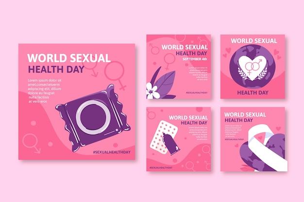 Ręcznie rysowana kolekcja postów na instagramie na światowy dzień zdrowia seksualnego