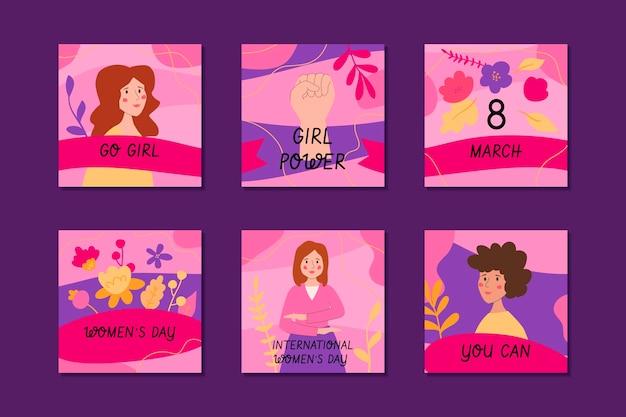 Ręcznie rysowana kolekcja postów na instagramie z okazji międzynarodowego dnia kobiet