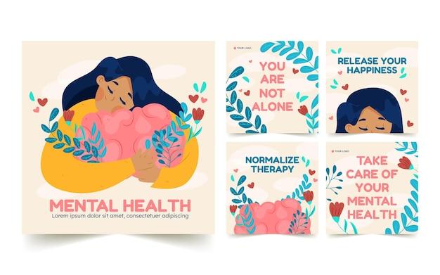 Ręcznie rysowana kolekcja postów na instagramie zdrowia psychicznego