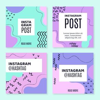 Ręcznie rysowana kolekcja postów na instagramie