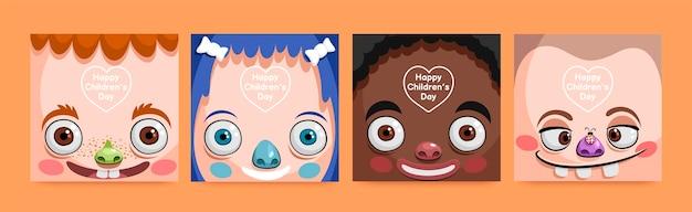 Ręcznie rysowana kolekcja postów z okazji dnia dziecka na świecie