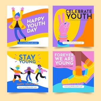 Ręcznie rysowana kolekcja postów z okazji międzynarodowego dnia młodzieży