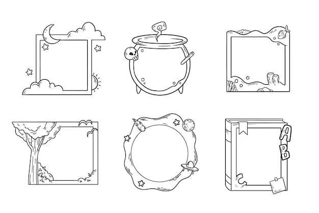 Ręcznie rysowana kolekcja ramek doodle