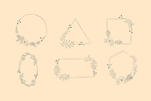 Ręcznie rysowana kolekcja ramek kwiatowych