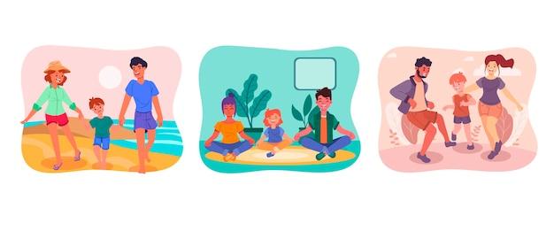 Ręcznie rysowana kolekcja scen rodzinnych