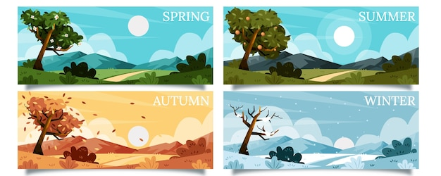 Ręcznie rysowana kolekcja sezonów o płaskiej konstrukcji