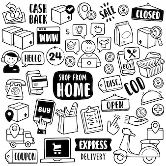 Ręcznie rysowana kolekcja: shop from home
