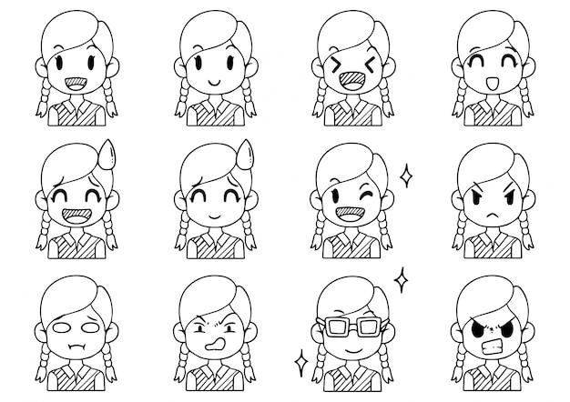 Ręcznie rysowana kolekcja słodkie awatary kreskówki