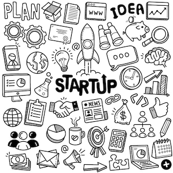 Ręcznie rysowana kolekcja: startup
