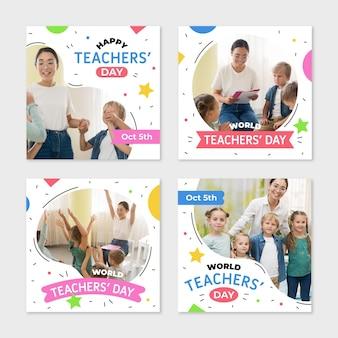Ręcznie rysowana kolekcja wpisów na instagram płaskich nauczycieli ze zdjęciem