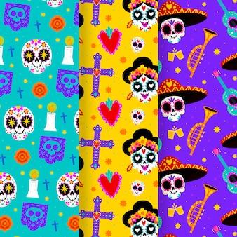 Ręcznie rysowana kolekcja wzorów dia de muertos