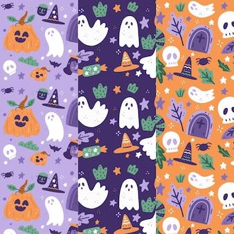Ręcznie rysowana kolekcja wzorów halloween