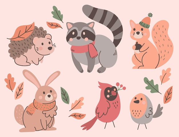 Ręcznie rysowana kolekcja zwierząt jesiennych