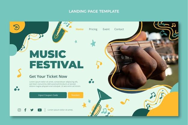 Ręcznie rysowana kolorowa strona docelowa festiwalu muzycznego