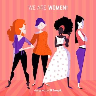 Ręcznie rysowana kompozycja feminizmu