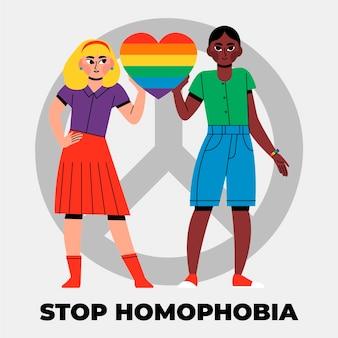 Ręcznie rysowana koncepcja zatrzymania homofobii zilustrowana