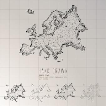 Ręcznie rysowana mapa europy.