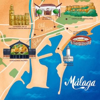 Ręcznie rysowana mapa malagi