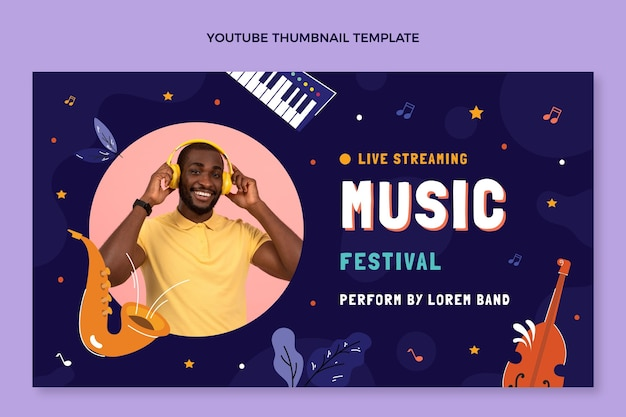 Ręcznie rysowana miniatura festiwalu muzycznego youtube
