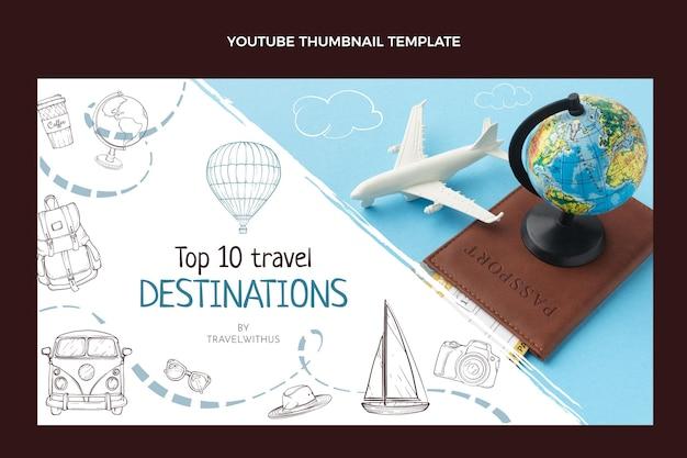 Ręcznie rysowana miniatura youtube podróży