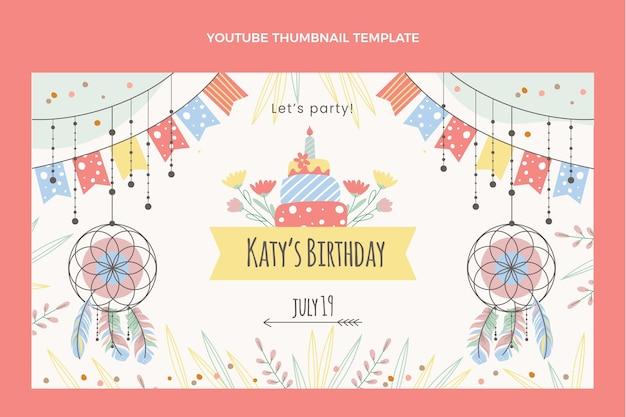 Ręcznie rysowana miniatura youtube urodziny boho