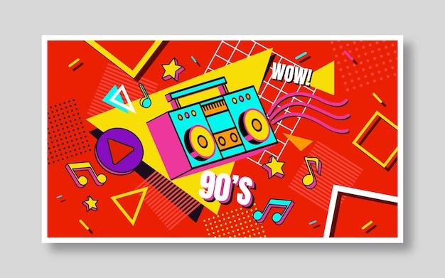 Ręcznie rysowana nostalgiczna miniatura youtube z lat 90.