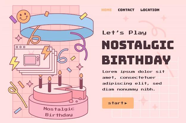 Ręcznie rysowana nostalgiczna strona docelowa urodzin z lat 90.