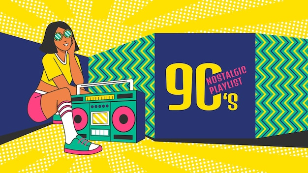 Ręcznie rysowana nostalgiczna sztuka kanału youtube z lat 90.