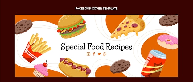 Ręcznie rysowana okładka na facebooku fast food