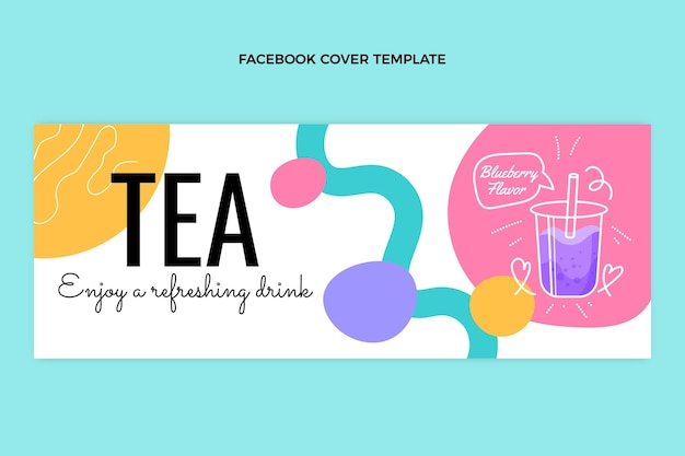 Ręcznie rysowana okładka na facebooku z herbatą