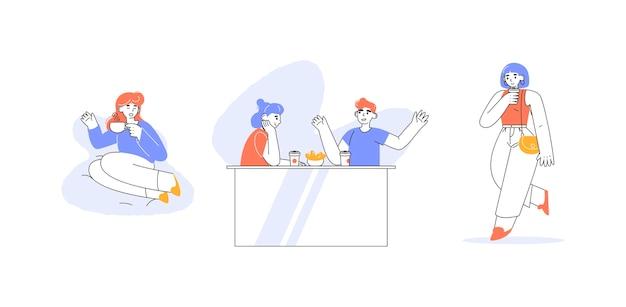 Ręcznie rysowana paczka ludzi z gorącymi napojami