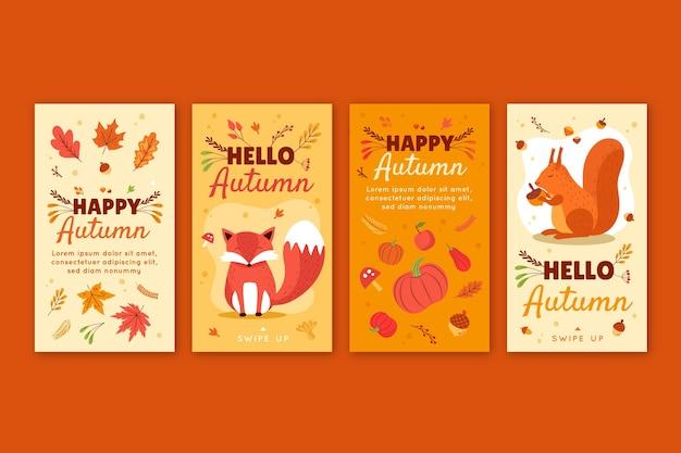Ręcznie rysowana płaska jesienna kolekcja opowiadań na instagramie