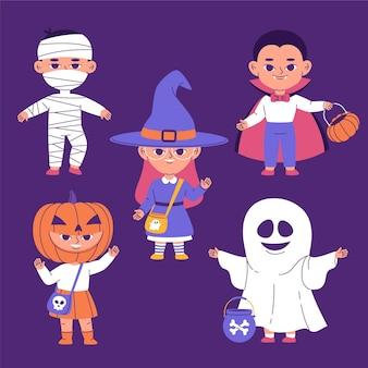 Ręcznie rysowana płaska kolekcja halloweenowa dla dzieci w kostiumach