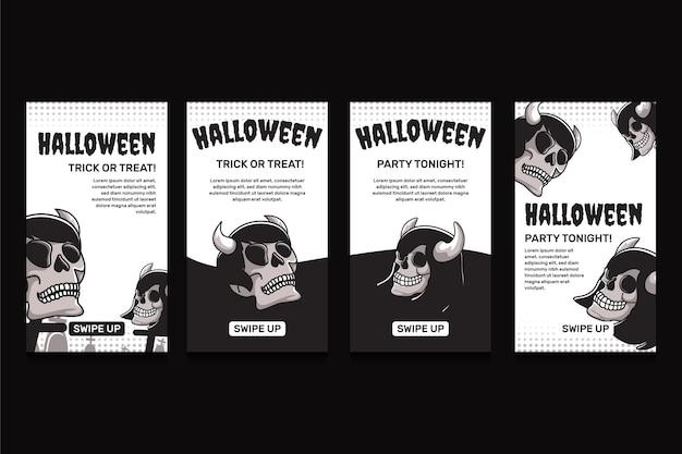 Ręcznie rysowana płaska kolekcja opowiadań halloweenowych na instagramie