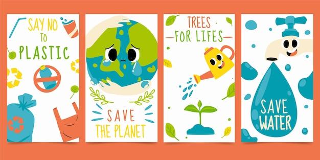 Ręcznie rysowana płaska kolekcja opowiadań o zmianach klimatu na instagramie