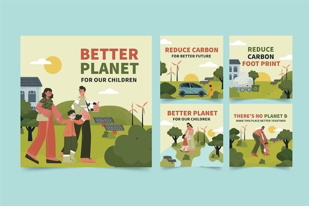 Ręcznie rysowana płaska kolekcja postów na instagramie o zmianie klimatu